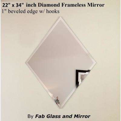 22 in. x 34 in. Diamond Frameless Decorative Mirror 1 in. Beveled Edge with 2 Hooks