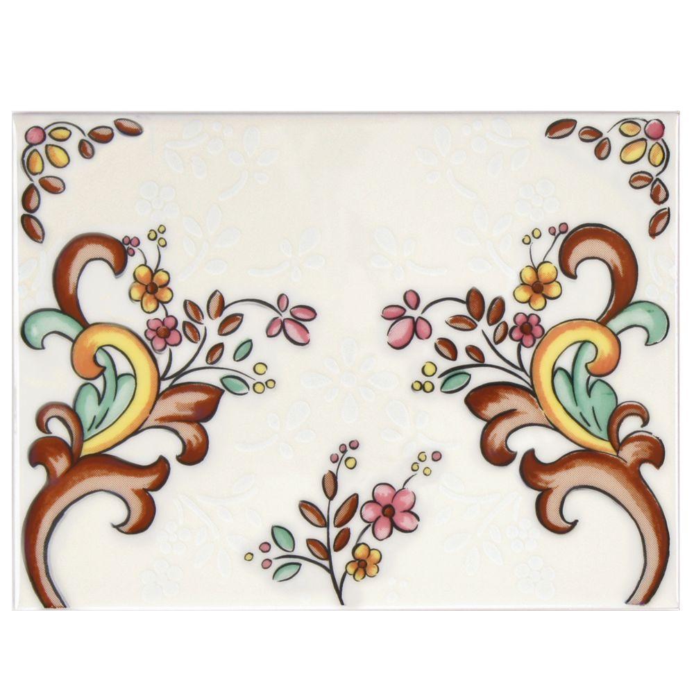 Merola Tile Galan Melado Petalo 6 in. x 8 in. Ceramic Decor Wall Tile