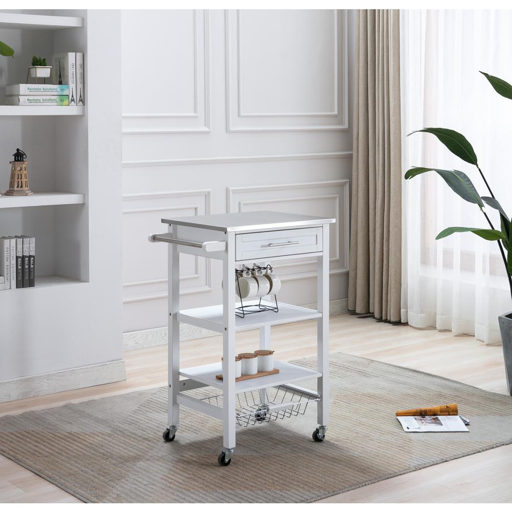 Hennington White Wash Kitchen Cart with Stainless Steel Top