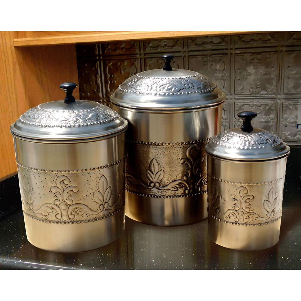 Antique Embossed Victoria Canister Set (3-Piece)