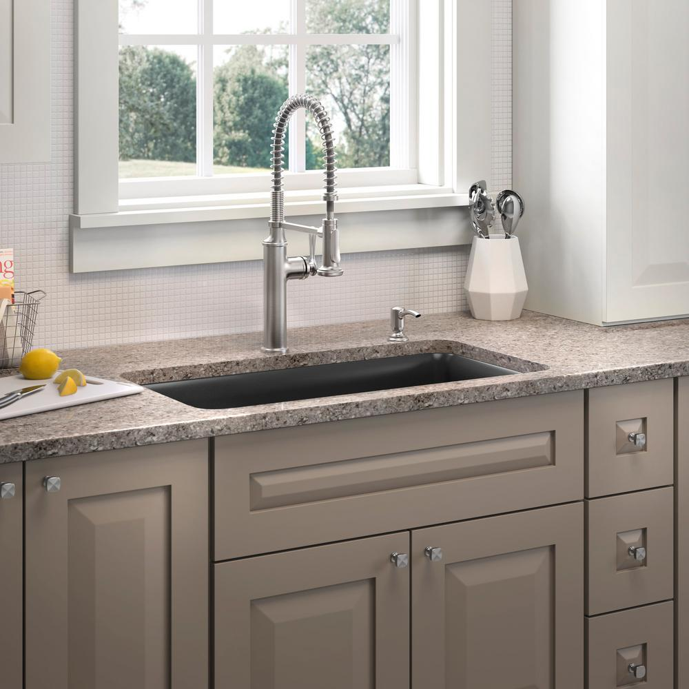 Kohler cairn undermount neoroc 33 5 in single bowl kitchen sink in matte black with sous