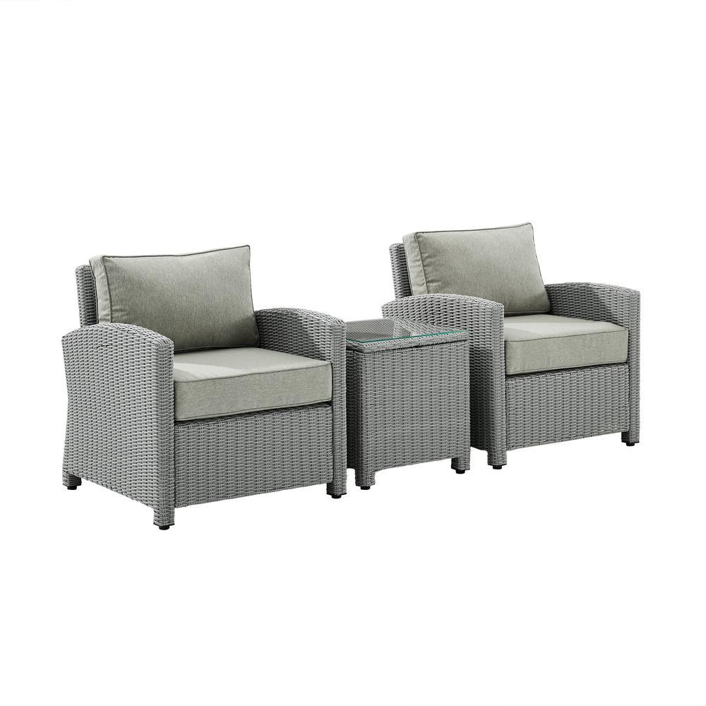 Bradenton Gray 3-Piece Wicker Patio Conversation Set with Gray Cushions