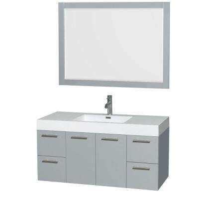 Amare 47 in. W x 21 in. D Vanity in Dove Gray with Acrylic Resin Vanity Top in White with White Basin and 46 in. Mirror