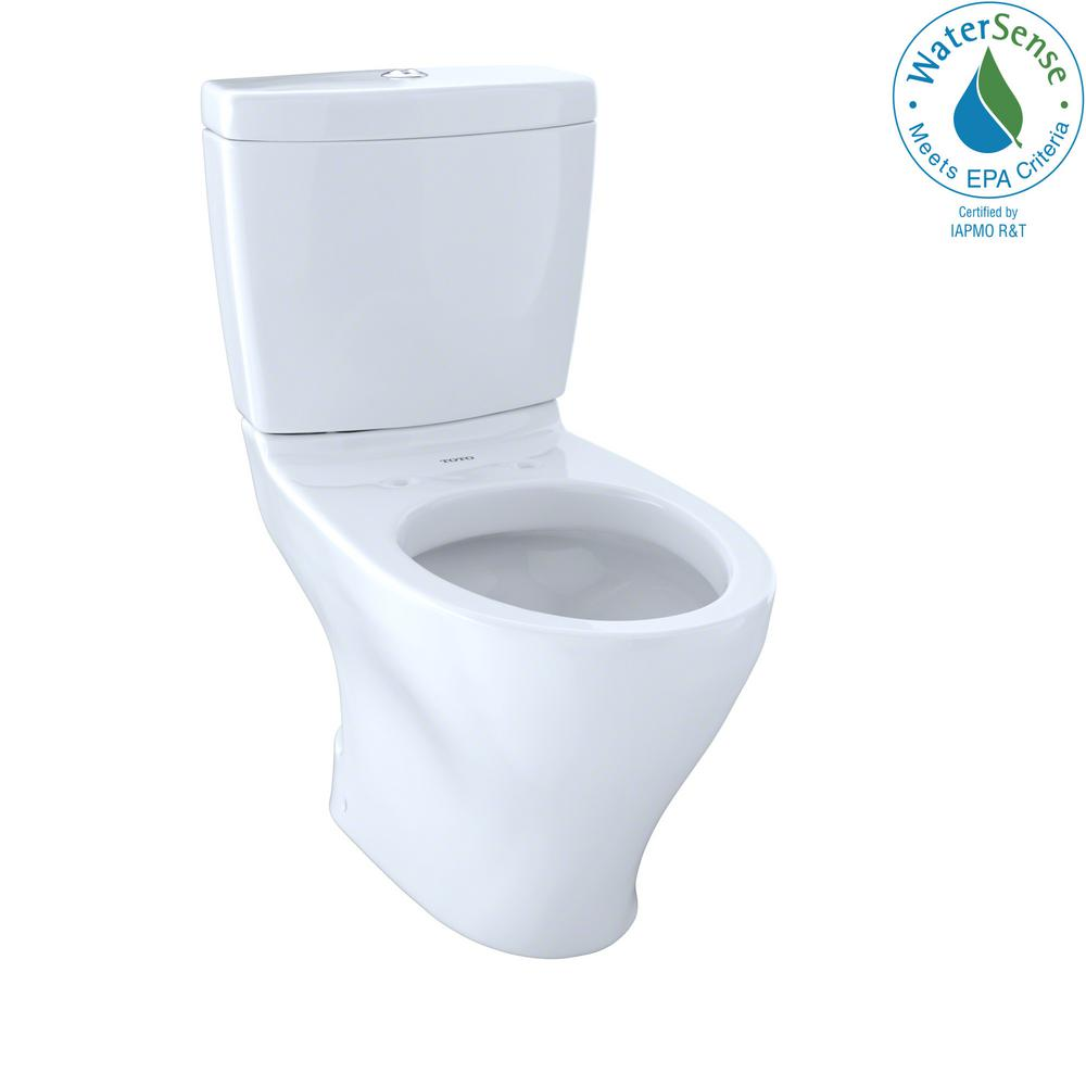 TOTO Aquia 2-Piece 0.9/1.6 GPF Dual Flush Elongated Toilet in Cotton ...