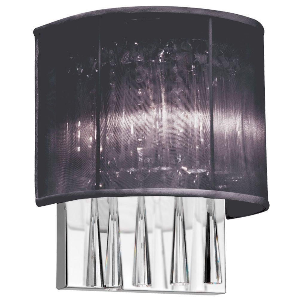 Josephine 2-Light Polished Chrome Crystal Wall Sconce with Black Shade