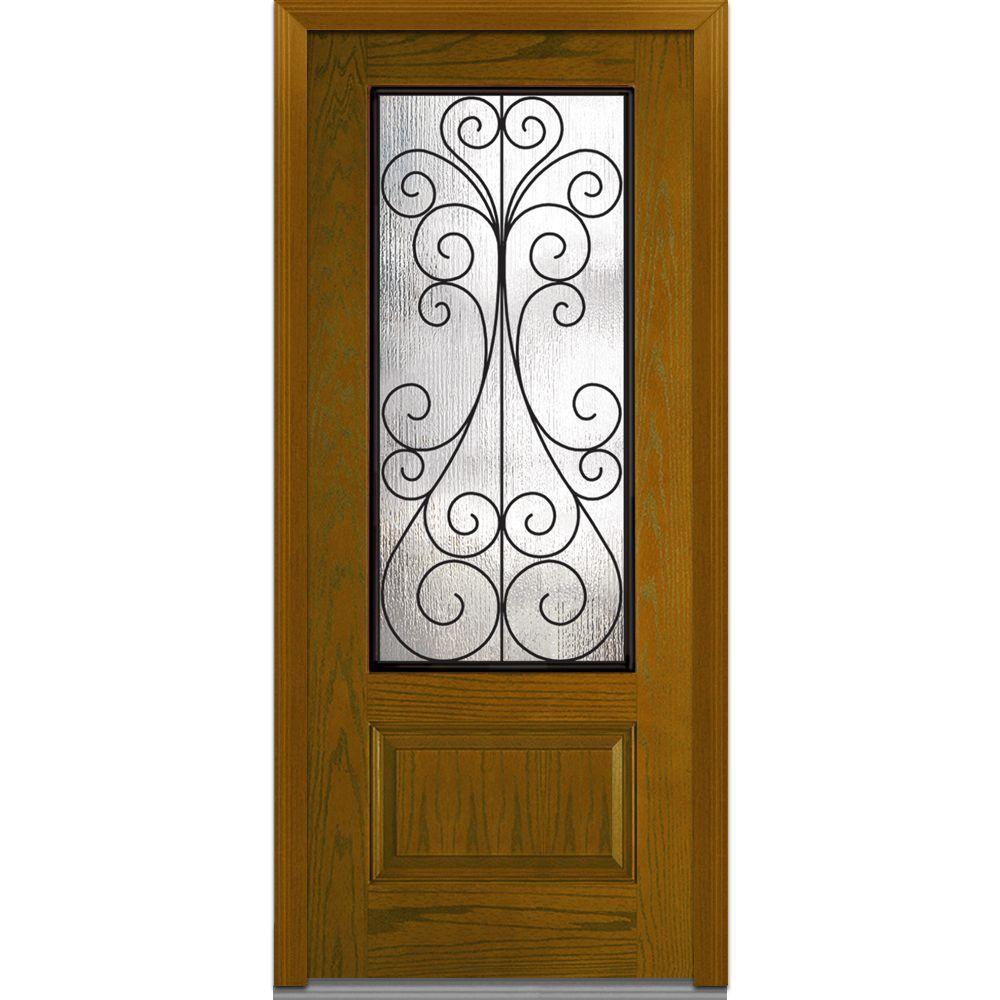 36 in. x 80 in. Camelia Right-Hand 3/4 Lite 1-Panel Midcentury Stained Fiberglass Oak Prehung Front Door