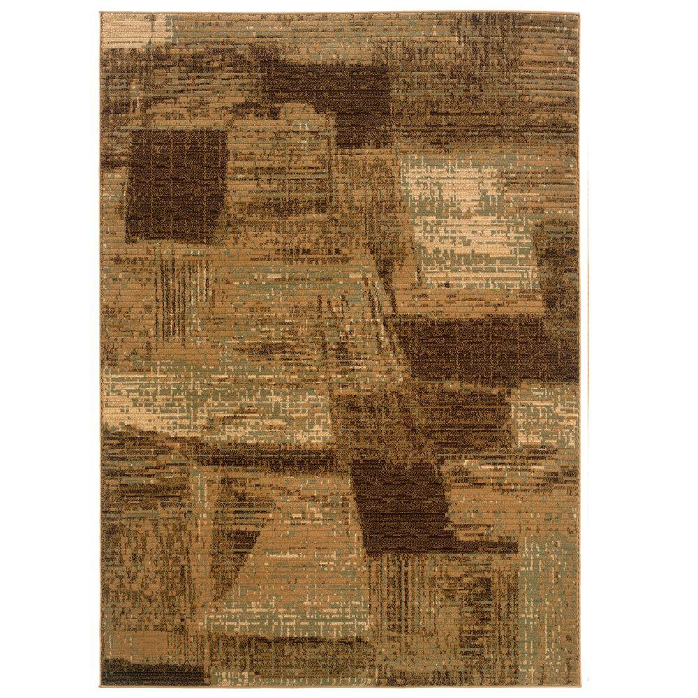 LR Resources Contemporary Light Brown and Cream Rectangle 3 ft. 11 in. x 5 ft. 3 in. Plush Indoor Area Rug