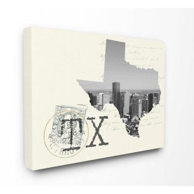 """30 in. x 40 in. """"Texas Black and White Photograph on Cream Paper Postcard"""" by Daphne Polselli Canvas Wall Art"""