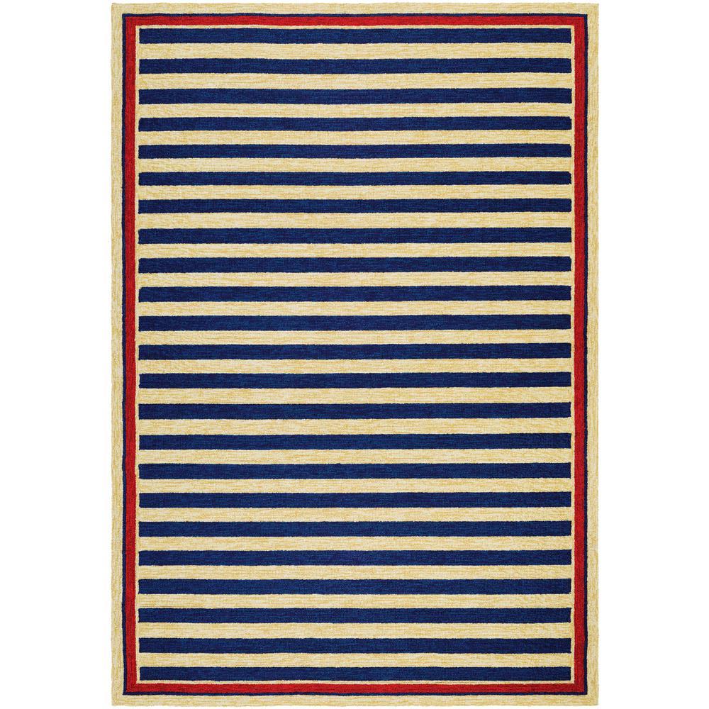 Nautical Patio Rug: Couristan Covington Nautical Stripes Navy-Red 2 Ft. X 4 Ft