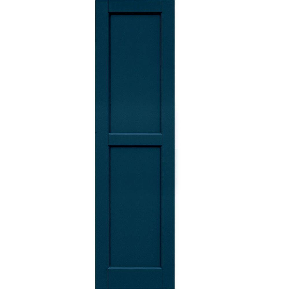 Winworks Wood Composite 15 in. x 55 in. Contemporary Flat Panel Shutters Pair #637 Deep Sea Blue