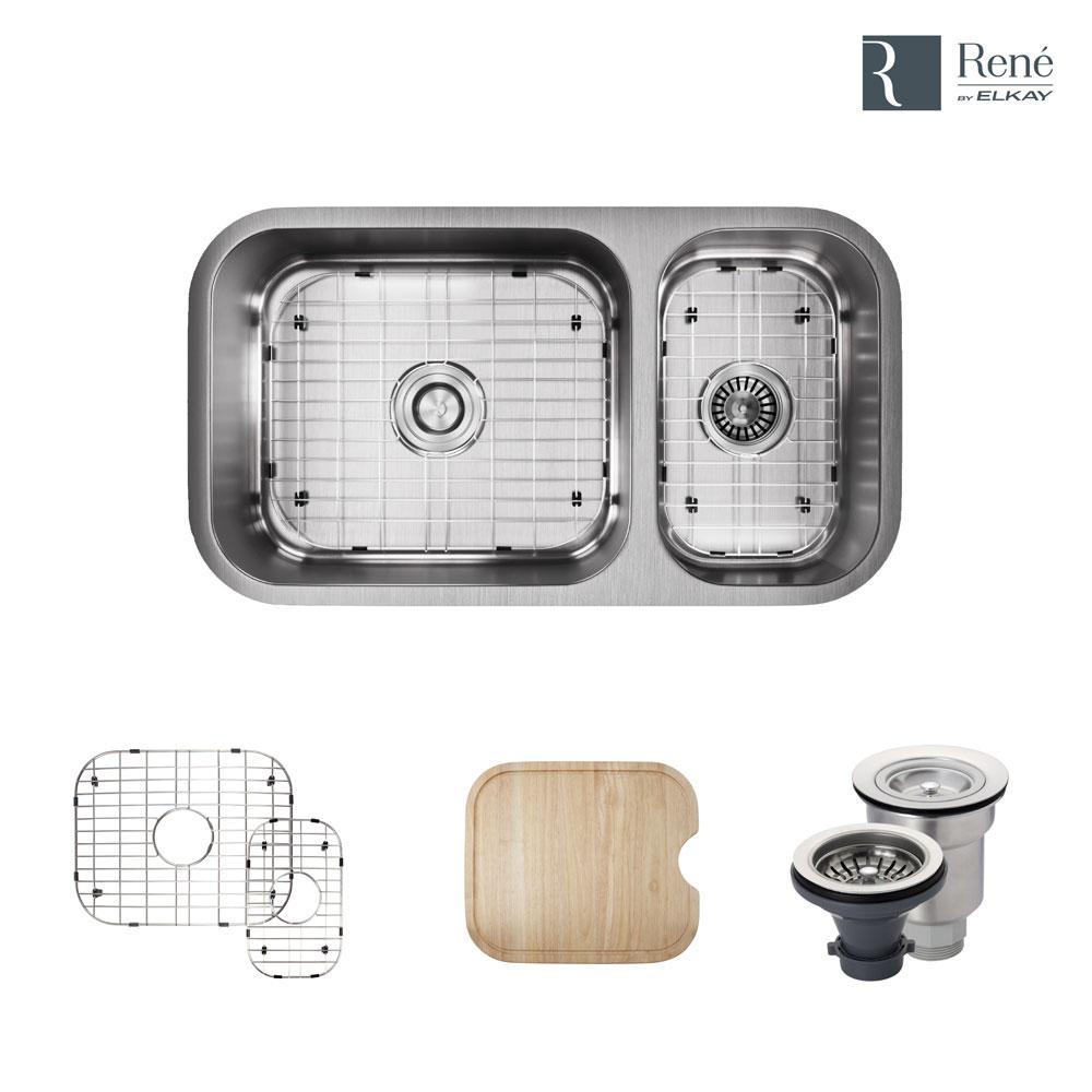 Undermount Stainless Steel 32-1/4 in. Left Double Bowl Kitchen Sink