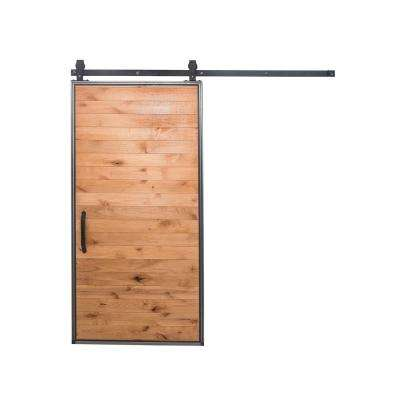 42 in. x 84 in. Mountain Modern Clear Wood Barn Door with Mountain Modern Sliding Door Hardware Kit