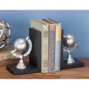 7 inch x 5 inch Aluminum and Wood Globe Bookend (2-Pack) by
