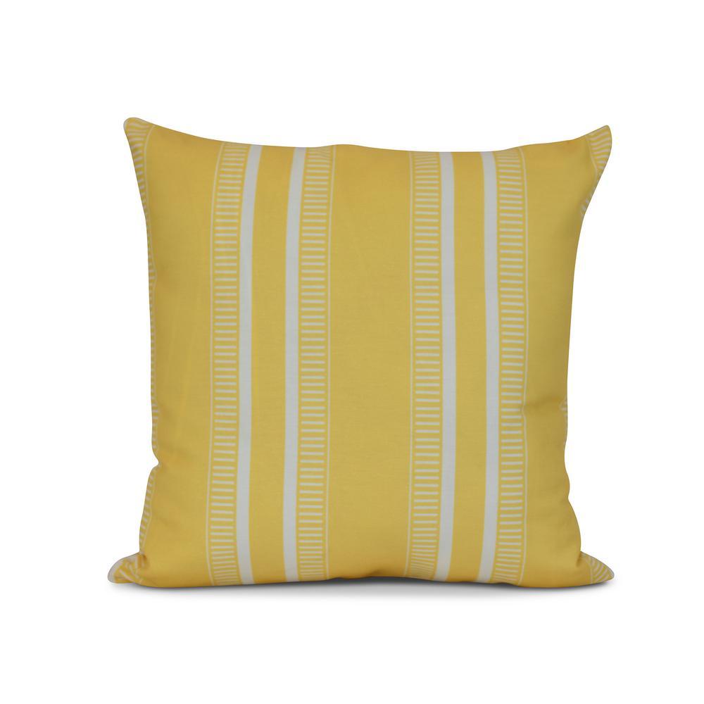 Dashing Yellow Striped 17 in. x 17 in. Throw Pillow