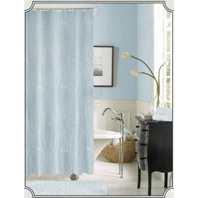 Woodbury 72 in. Blue Printed Fabric Shower Curtain