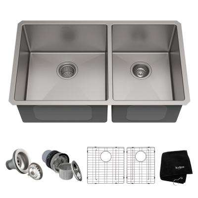 Standart PRO 33in. 16 Gauge Undermount 60/40 Double Bowl Stainless Steel Kitchen Sink