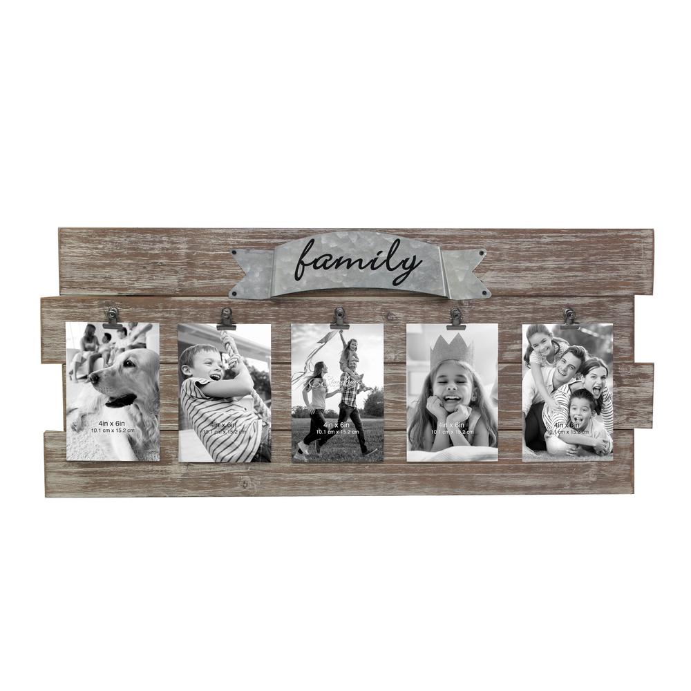 Stonebriar Collection Rustic Wood Collage Picture Frame With Clips