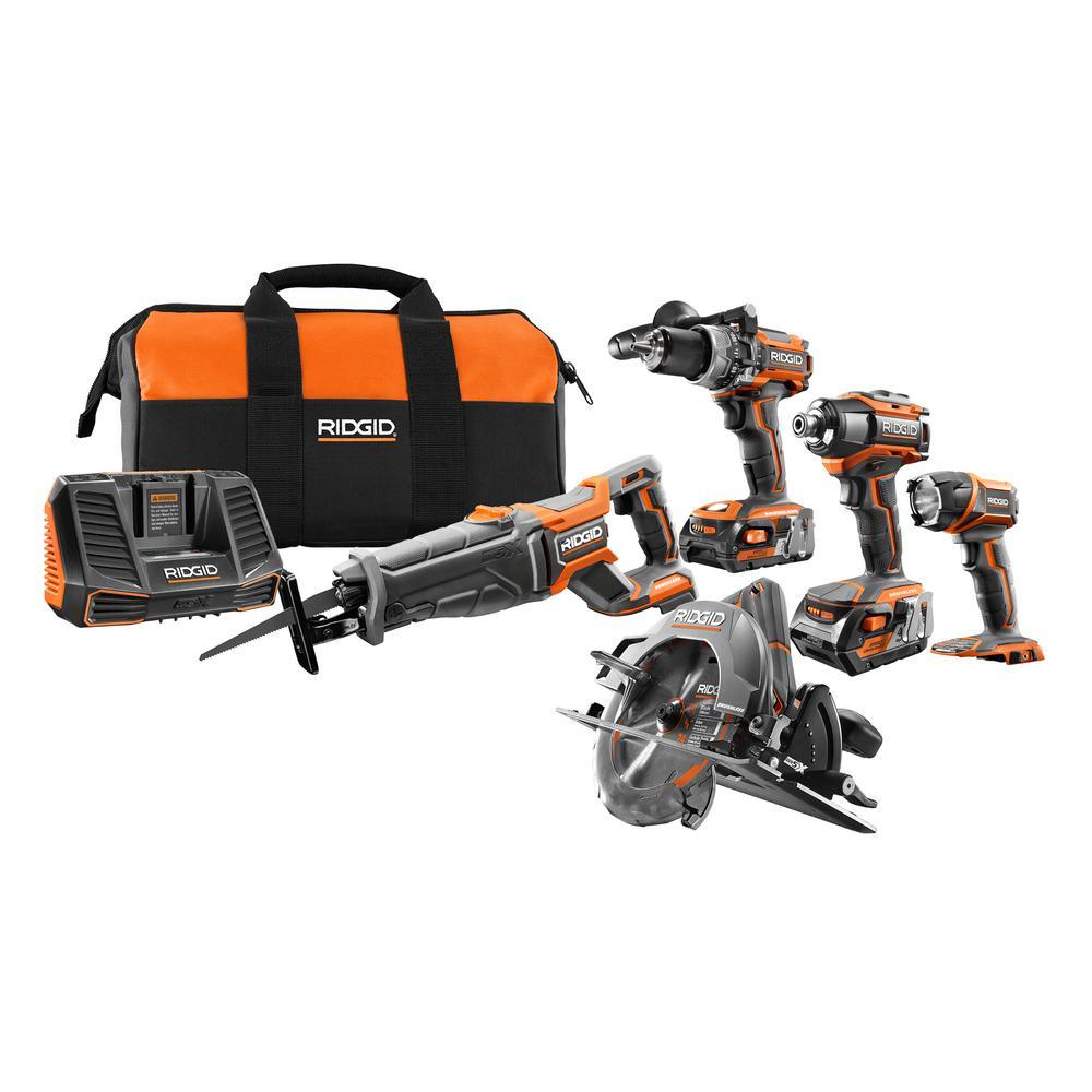 HomeDepot.com deals on Ridgid 18-Volt Lithium-Ion Brushless 5-Piece Combo Kit