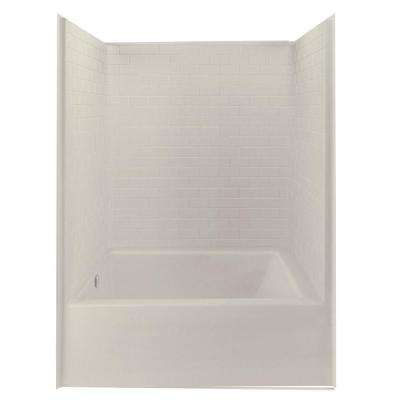 Everyday 60 in. x 42 in. x 80 in. 1-Piece Bath and Shower Kit with Left Drain in Bone