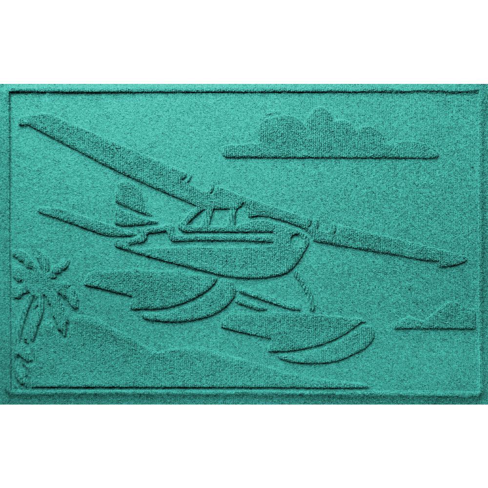 Aquamarine 24 in. x 36 in. Sea Plane Polypropylene Door Mat