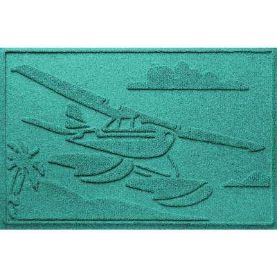 Aquamarine 24 in. x 36 in. Sea Plane Polypropylene Door Mat