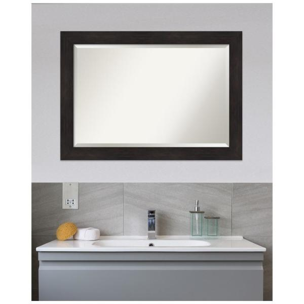 Amanti Art Medium Rectangle Espresso Brown Tan Beveled Glass Modern Mirror 29 38 In H X 41 38 In W Dsw4593633 The Home Depot