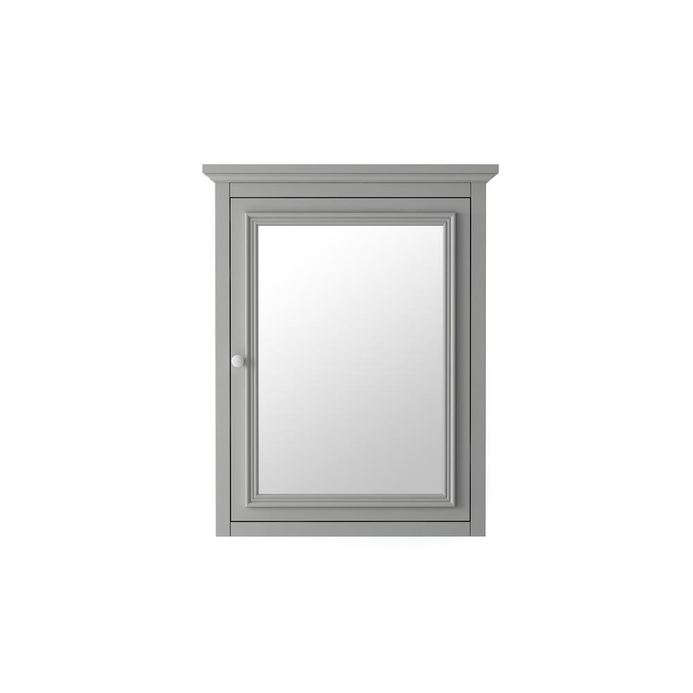 Fremont 24 in. x 30 in. Framed Wall Mirror in Grey