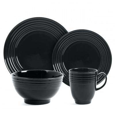 Stanza 16-Piece Black Dinnerware Set