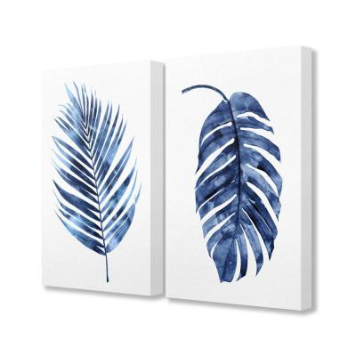"16 in. x 20 in. ""Indigo Dark Blue Palm Frond Plant Painting Duo"" by Artist Melonie Miller Canvas Wall Art(2Pieces)"