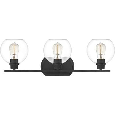 Pruitt 3-Light Matte Black Vanity Light