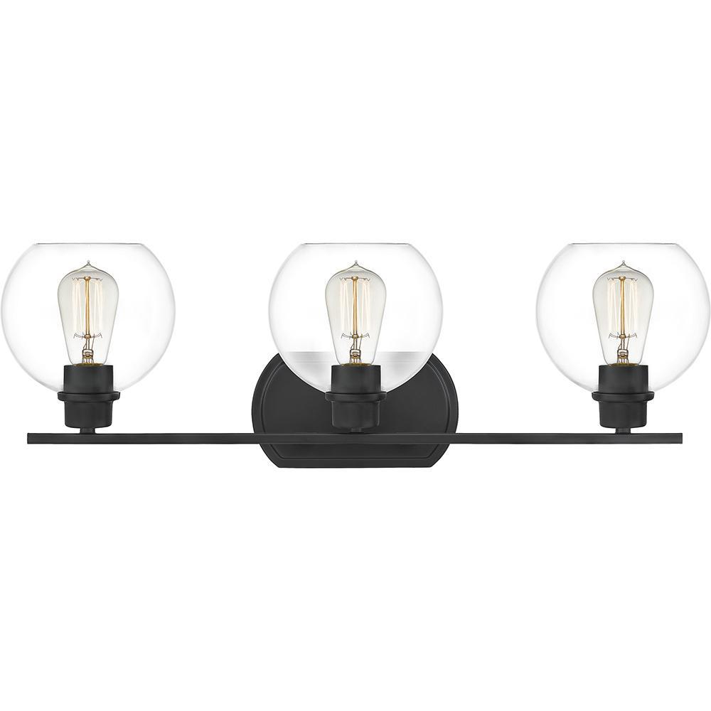 Pruitt 3-Light Matte Black Vanity Light