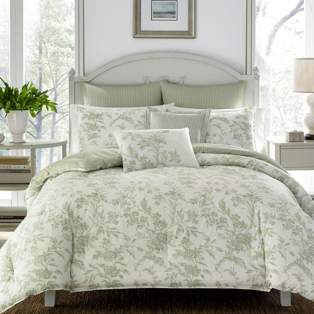 Laura Ashley Natalie Green Cotton 7 Piece Comforter Set, Full