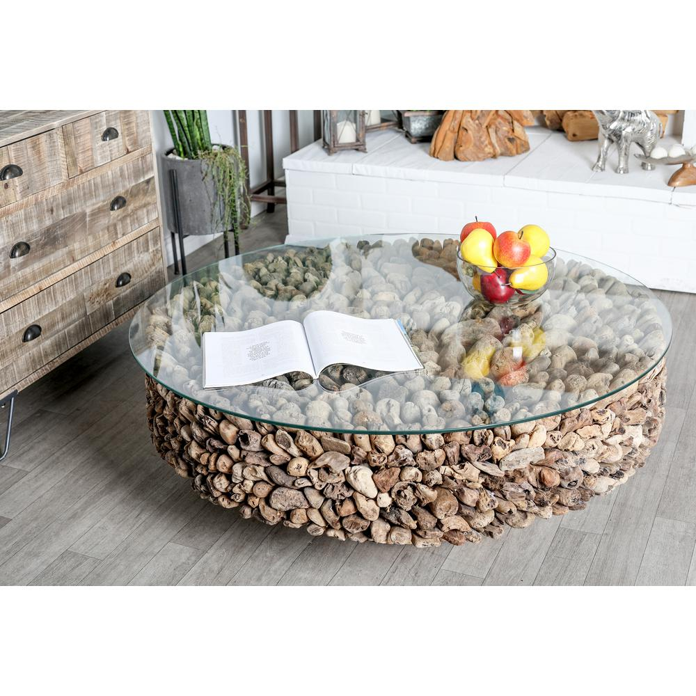 Gray Round Driftwood Twigs And Glass Coffee Table
