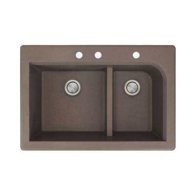 Radius Drop-in Granite 33 in. 3-Hole 1-3/4 J-Shape Double Bowl Kitchen Sink in Espresso