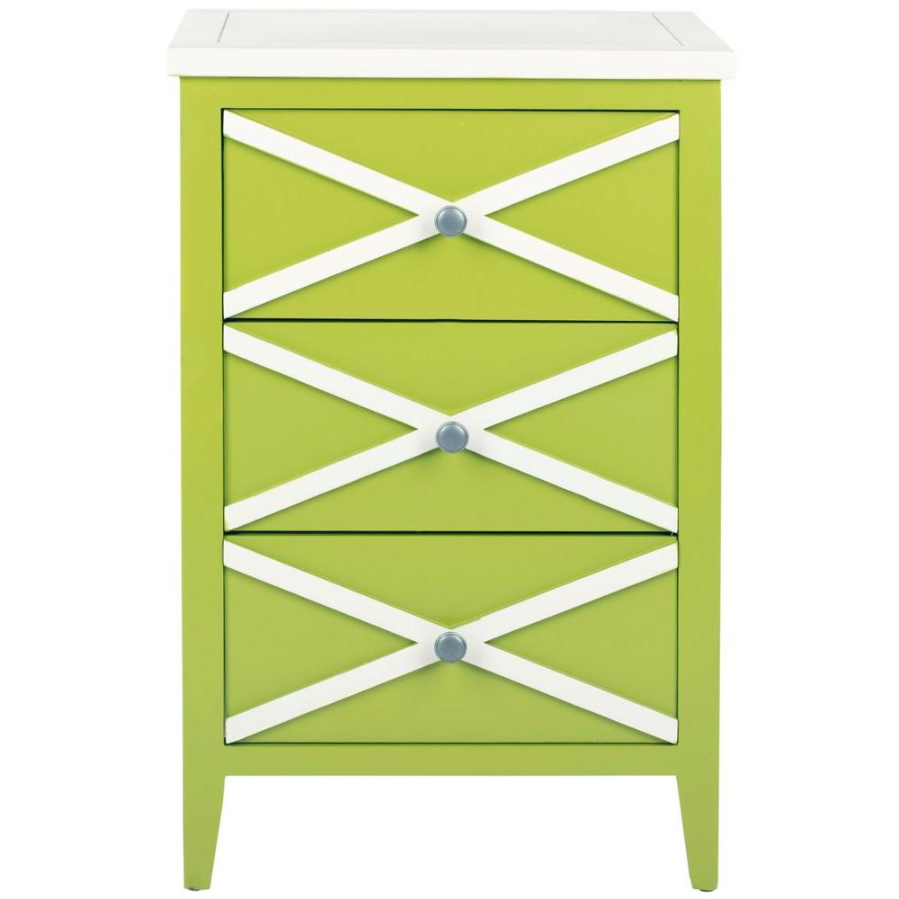 Safavieh Sherrilyn Lime Green and White Storage Side Table