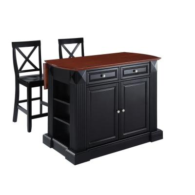 Coventry Black Drop Leaf Kitchen Island with X-Back Stools