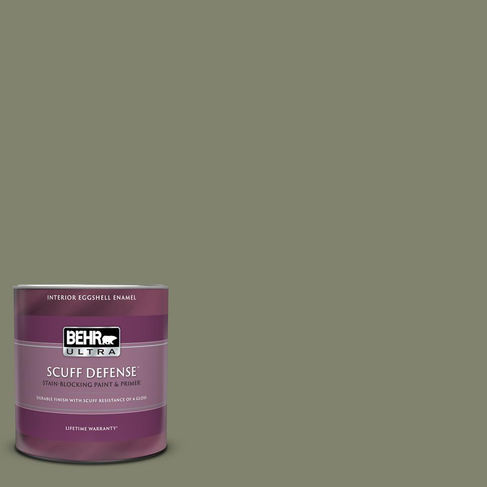 Behr Ultra 1 Qt Ppu10 18 Lizard Green Extra Durable Eggshell Enamel Interior Paint Primer 275304 The Home Depot