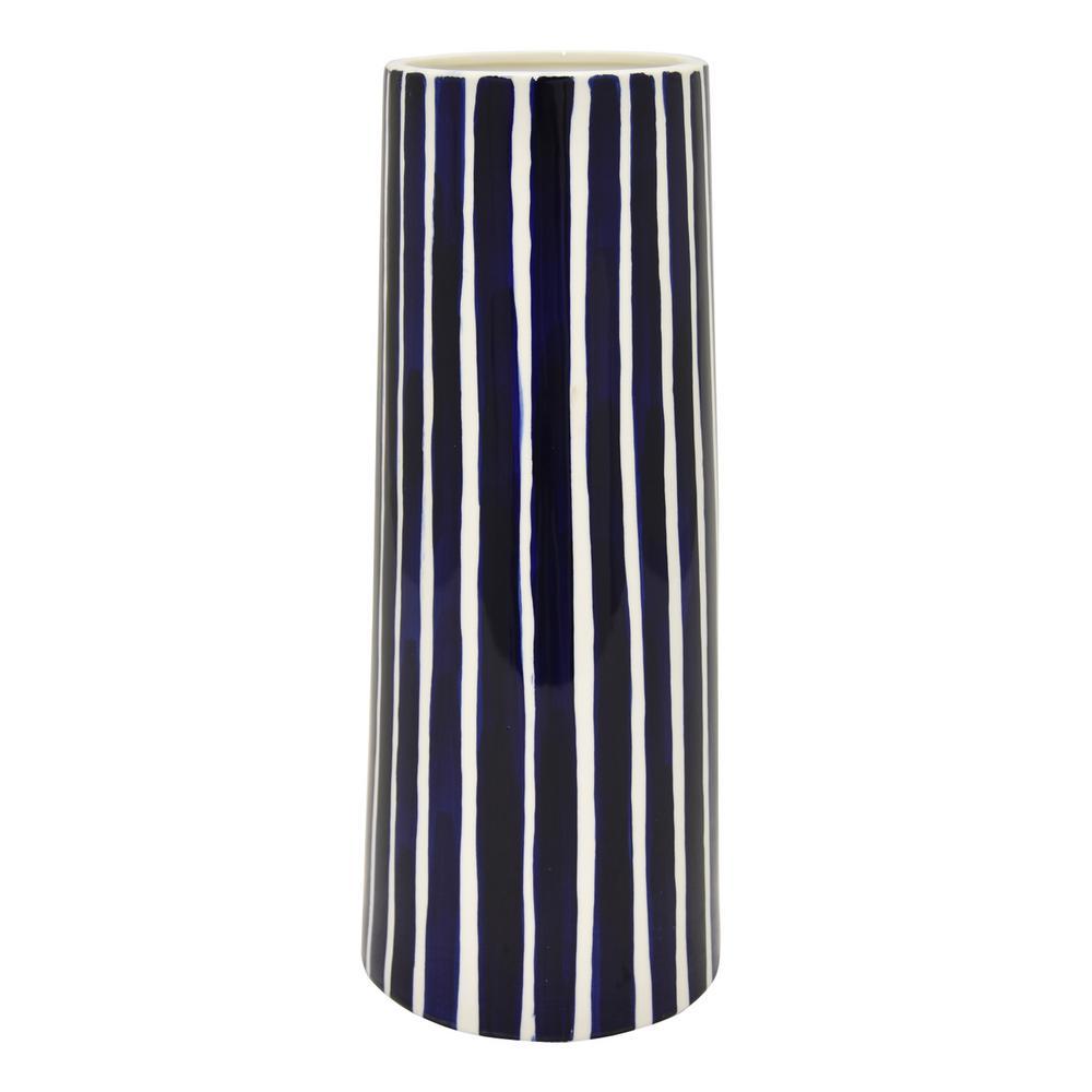 13.75 in. Blue Stripes Porcelain Vase