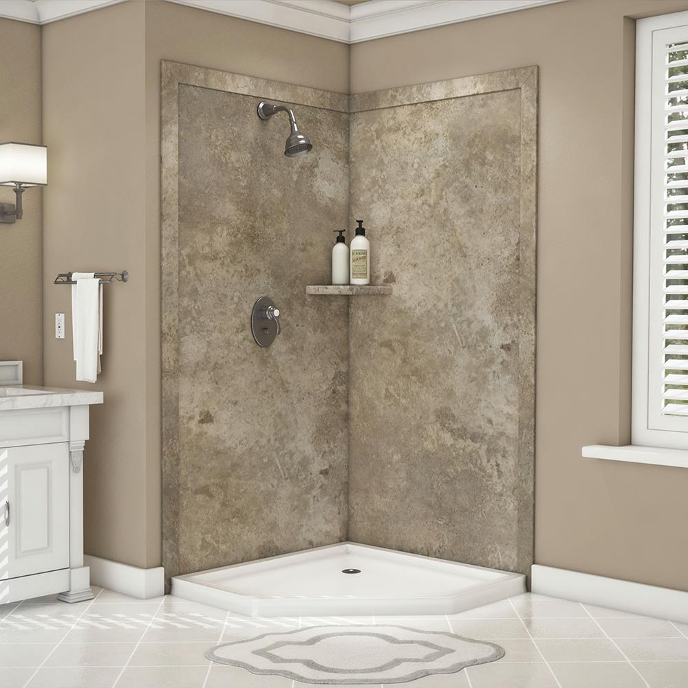 FlexStone Splendor 40 in. x 40 in. x 80 in. 7-Piece Easy Up Adhesive Corner Shower Wall Surround in Mocha Travertine