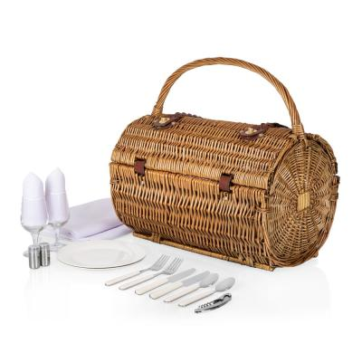13-Piece Red and White Interior Picnic Set and Barrel Basket (Set for 2)