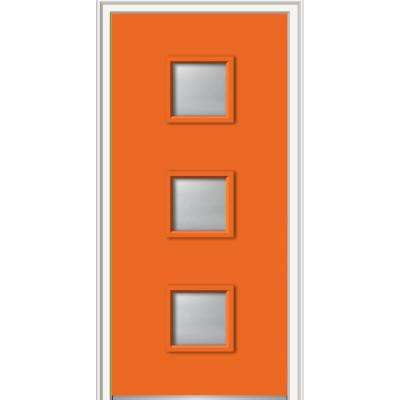 36 in. x 80 in. Aveline Left-Hand Inswing 3-Lite Frosted Painted Fiberglass Smooth Prehung Front Door 4-9/16 in. Frame