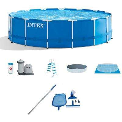 15 ft. x 48 in. Deep Metal Frame Above-Ground Round Pool and Maintenance Kit with Vacuum and Pole