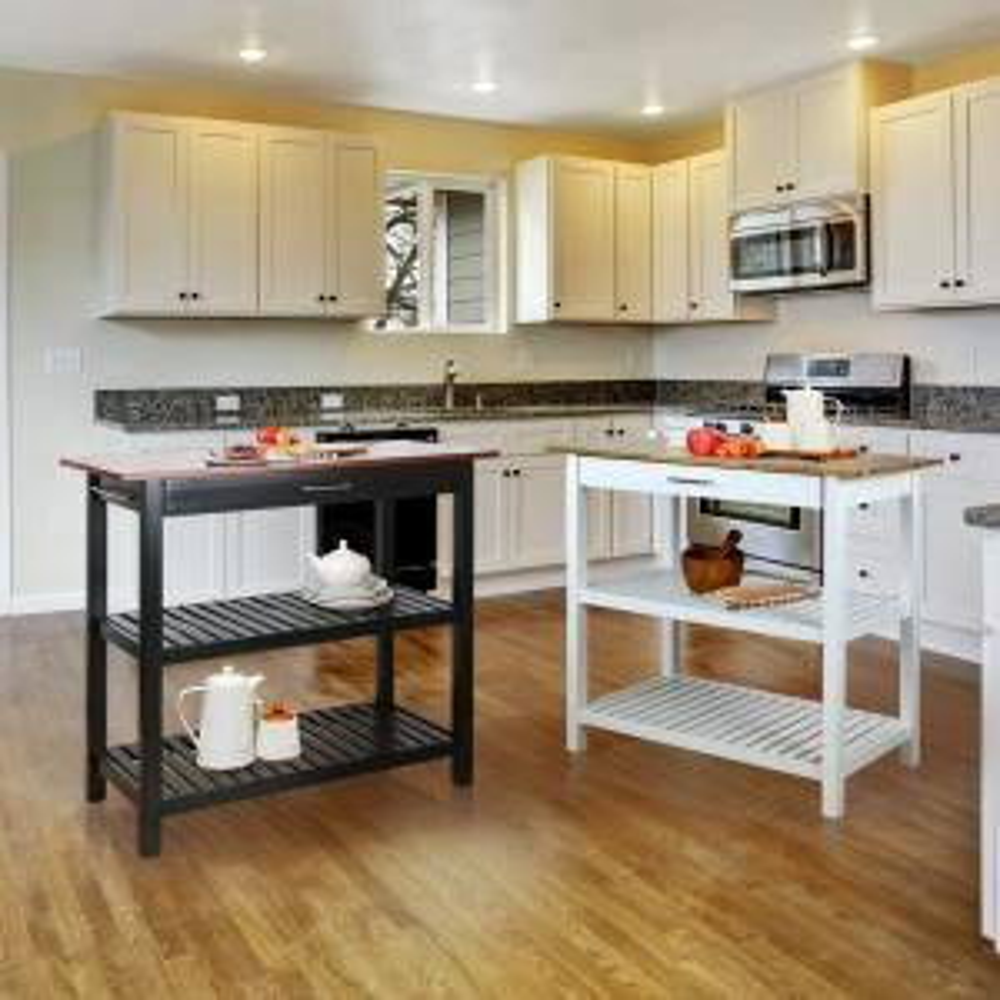Casual Home 2-Tone (Black Base, Walnut Top) Kitchen Island ...