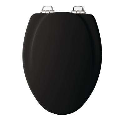 Chrome Slow Close Elongated Closed Front Toilet Seat in Black