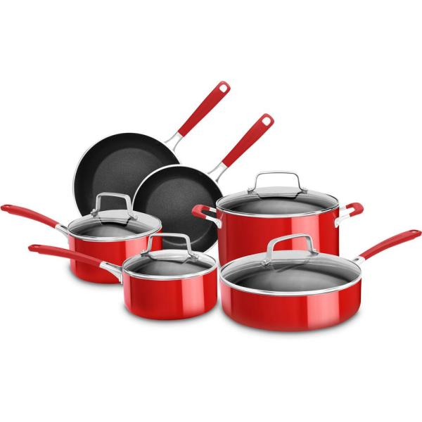 KitchenAid Aluminum Nonstick 10-Piece Empire Red Cookware Set with Lids