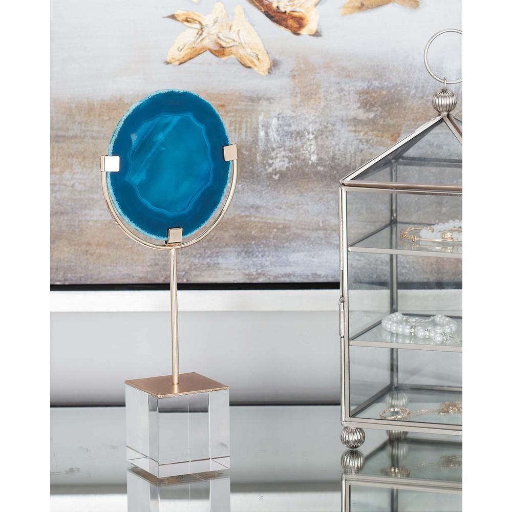 10 in. x 2 in. Decorative Blue Geode Scuplture