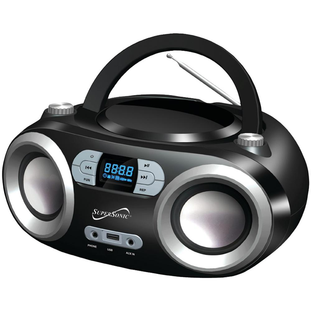 Portable Bluetooth Audio System Enjoy your music anywhere with the Supersonic Portable Bluetooth Audio System. Plug in your MP3 files with the auxiliary input or drop in CDs for excellent sound quality. Plus, there is a USB input and access to AM/FM radio.
