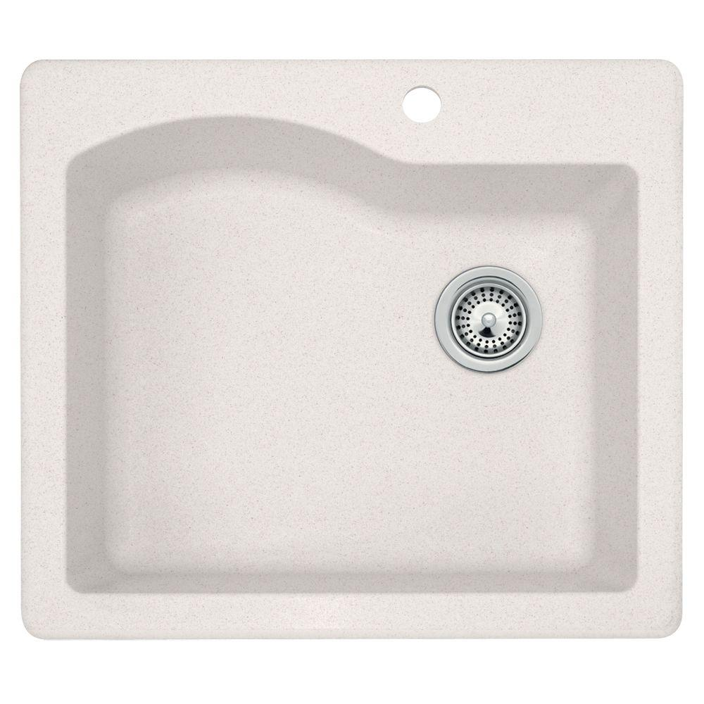 Swan Dual Mount Granite 25 in. 1-Hole Single Bowl Kitchen Sink in Bianca