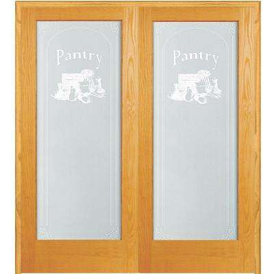 61.5 in. x 81.75 in. Pantry Decorative Glass 1-Lite Unfinished Pine Wood Interior French Double Door