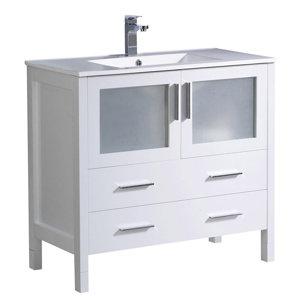 Fresca Torino 36 in. Bath Vanity in White with Ceramic Vanity Top in White with White Basin
